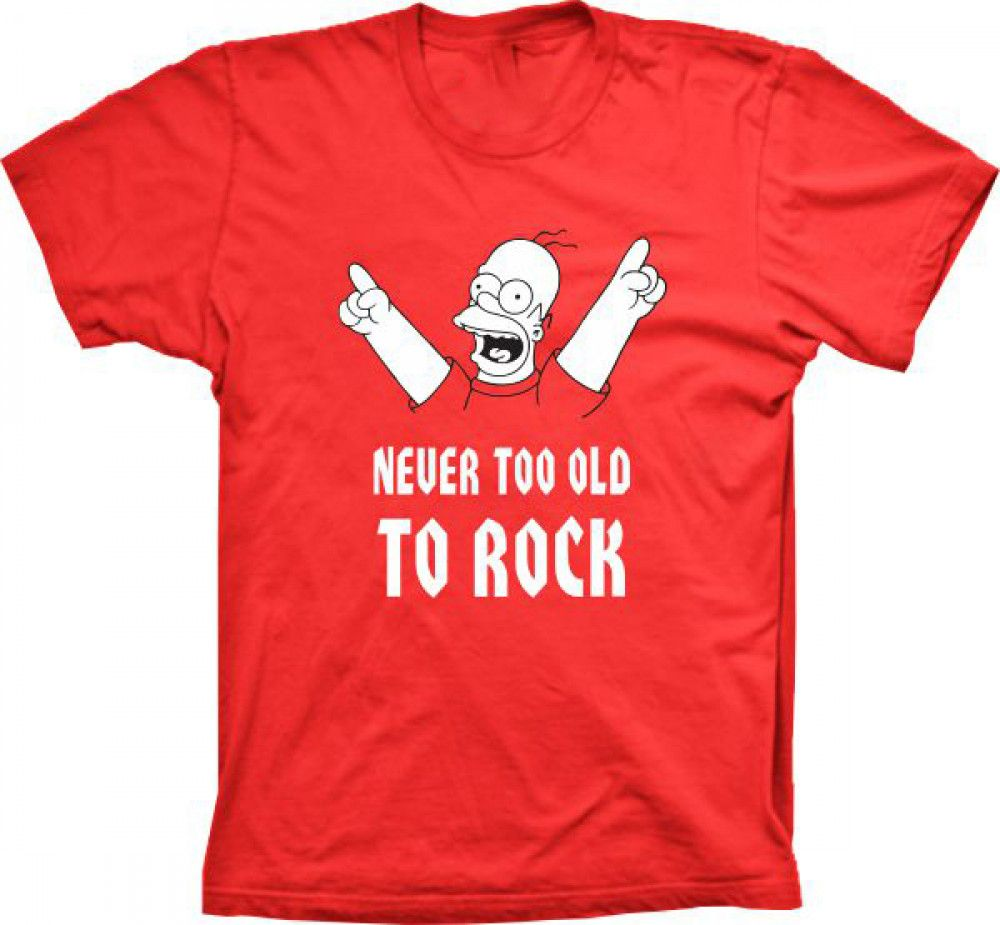 Camiseta Homer Simpson Never too old to Rock